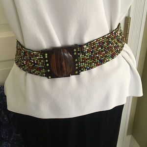 Multicolored Stretch Belt with Wooden Fastener.